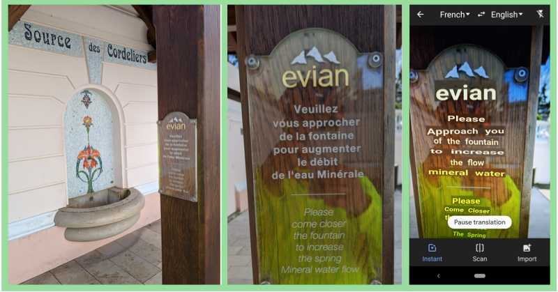 Evian spring sign with Instant Camera